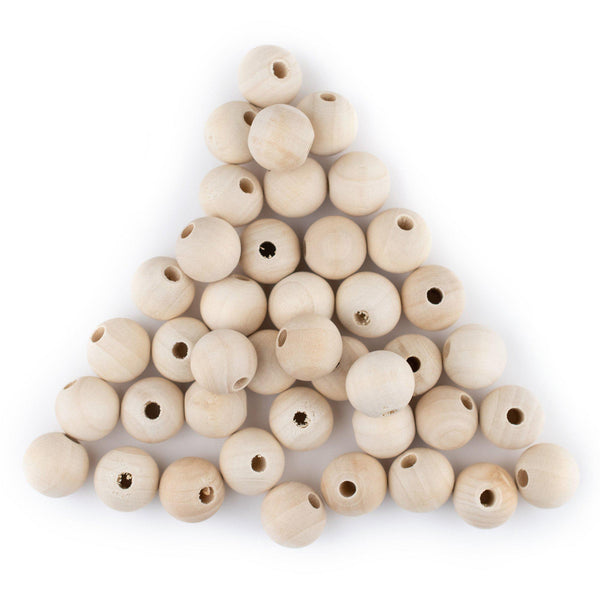 Unfinished Natural Wood Beads (10mm, Set of 60)