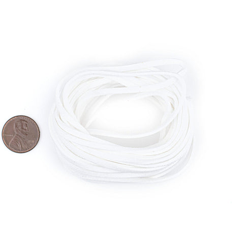 3mm Flat White Faux Suede Cord (15ft)