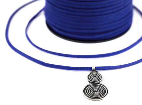 3mm Flat Cobalt Blue Faux Suede Cord (300ft)