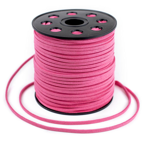 3mm Flat Neon Pink Faux Suede Cord (300ft)