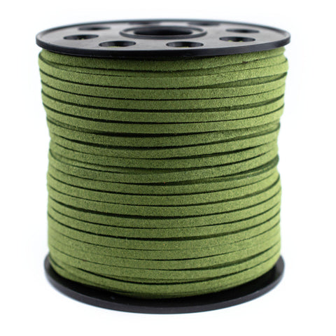3mm Flat Lime Green Faux Suede Cord (300ft)