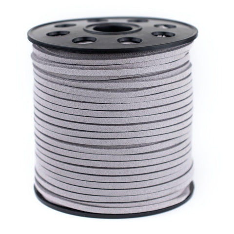 3mm Flat Light Grey Faux Suede Cord (300ft)