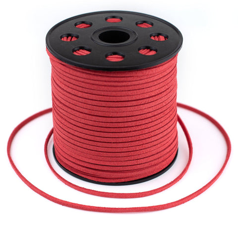 3mm Flat Red Faux Suede Cord (300ft)