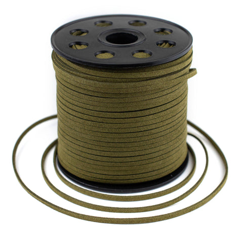3mm Flat Olive Green Faux Suede Cord (300ft)