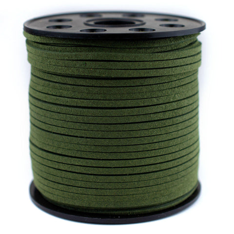 3mm Flat Dark Green Faux Suede Cord (300ft)