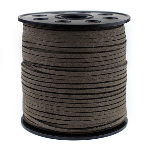 3mm Flat Groundhog Grey Faux Suede Cord (300ft)