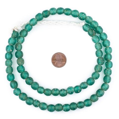 Image of Green Aqua Ancient Style Java Glass Beads (9mm) - The Bead Chest