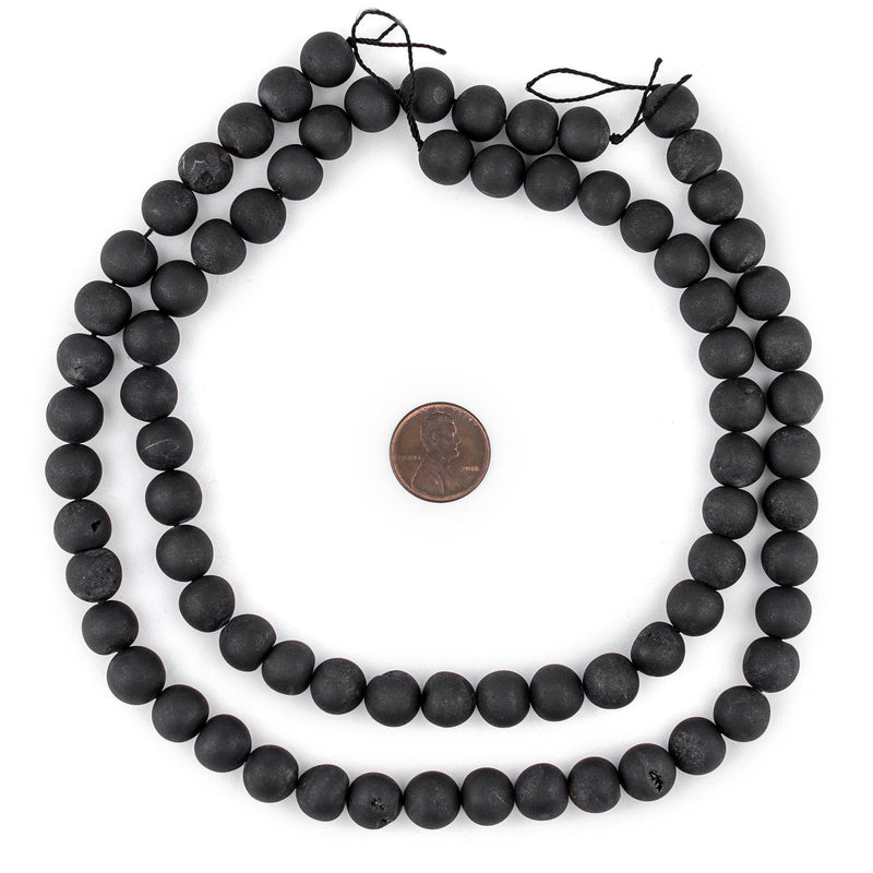 Black Round Druzy Agate Beads (10mm) - The Bead Chest
