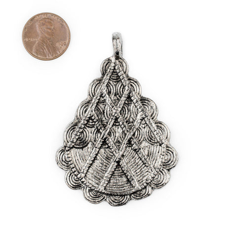 Silver Baule Pyramid Pendant (67x48mm) - The Bead Chest