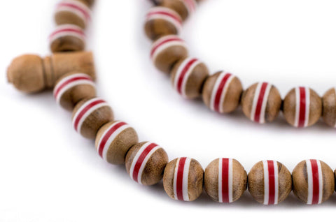 Red Stripe Inlaid Olive Wood Arabian Prayer Beads (6mm) - The Bead Chest