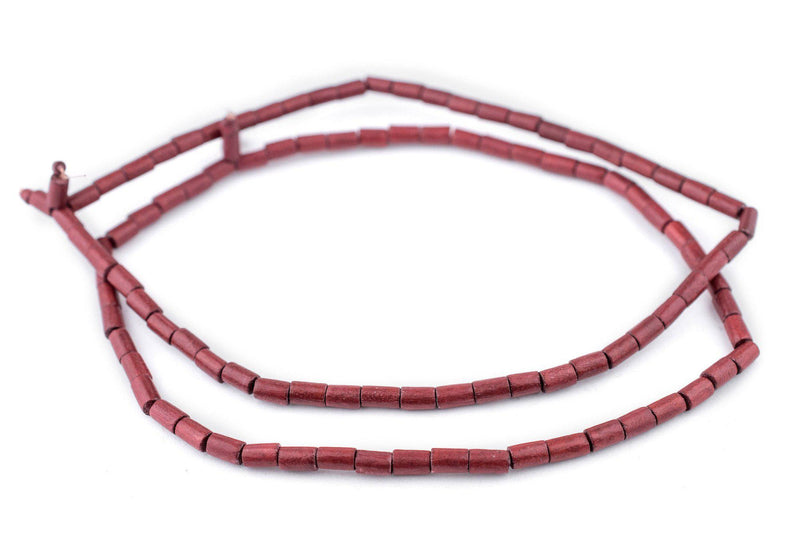 Cherry Red Tube Natural Wood Beads (7x5mm) - The Bead Chest