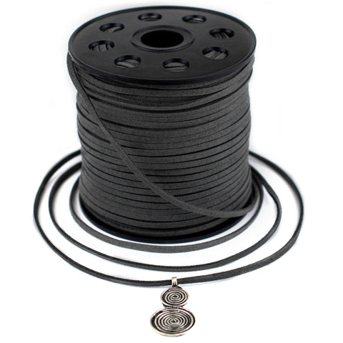 3mm Flat Dark Grey Faux Suede Cord (300ft)