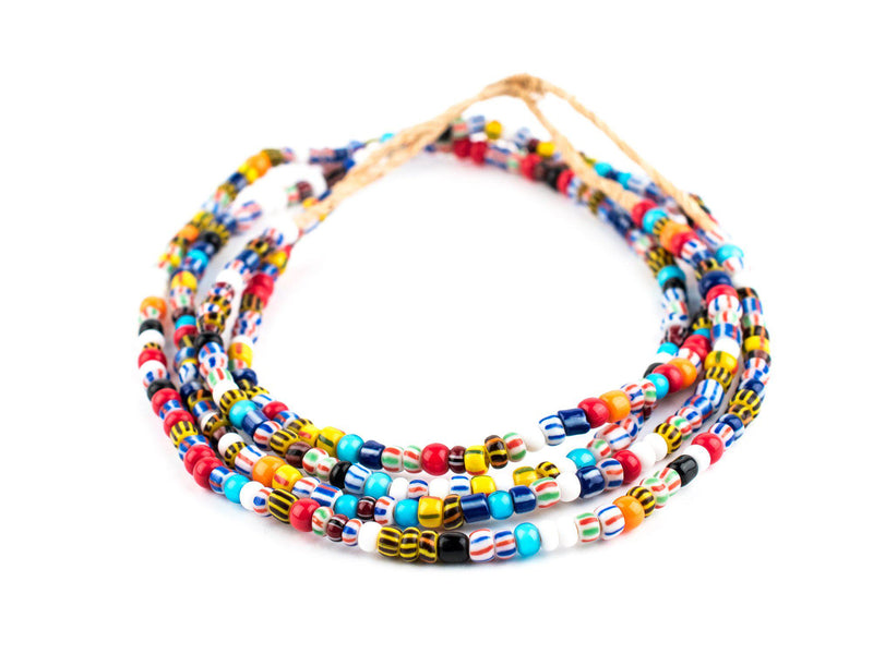 Mixed Ghana Glass Chevron Beads (6mm) - The Bead Chest