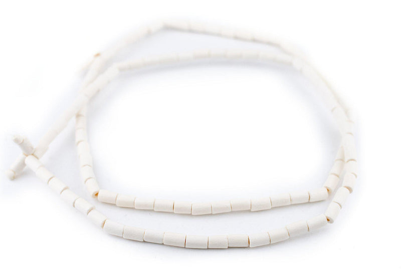 White Tube Natural Wood Beads (7x5mm) - The Bead Chest