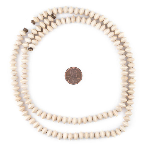 Cream Bicone Natural Wood Beads (5x8mm)