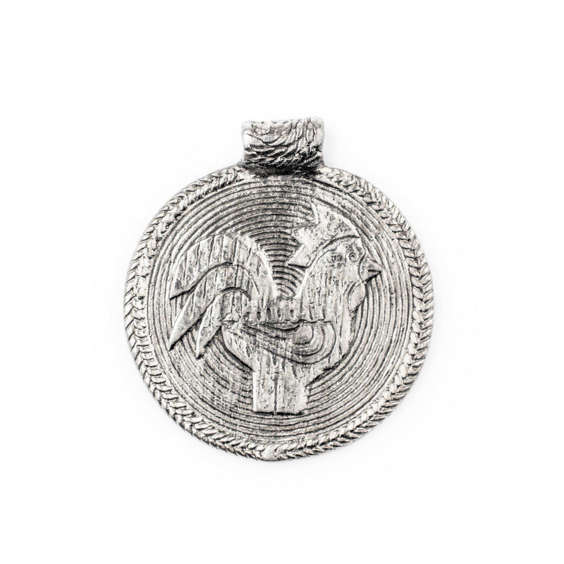 Silver Rooster Baule Bead Pendant (58x52mm) - The Bead Chest