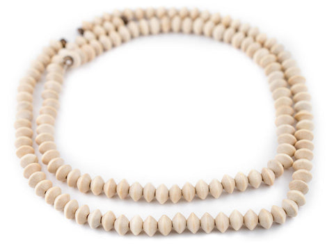 Cream Bicone Natural Wood Beads (5x8mm) - The Bead Chest