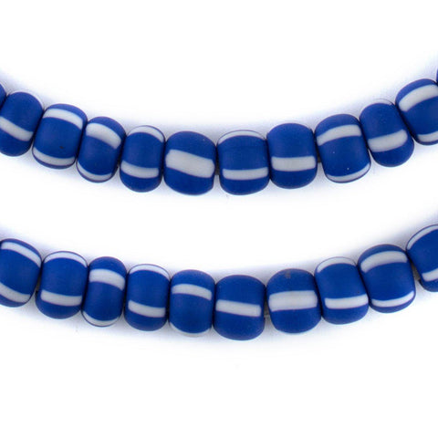 Image of Indigo Blue & White Matte Ghana Chevron Beads (9mm) - The Bead Chest