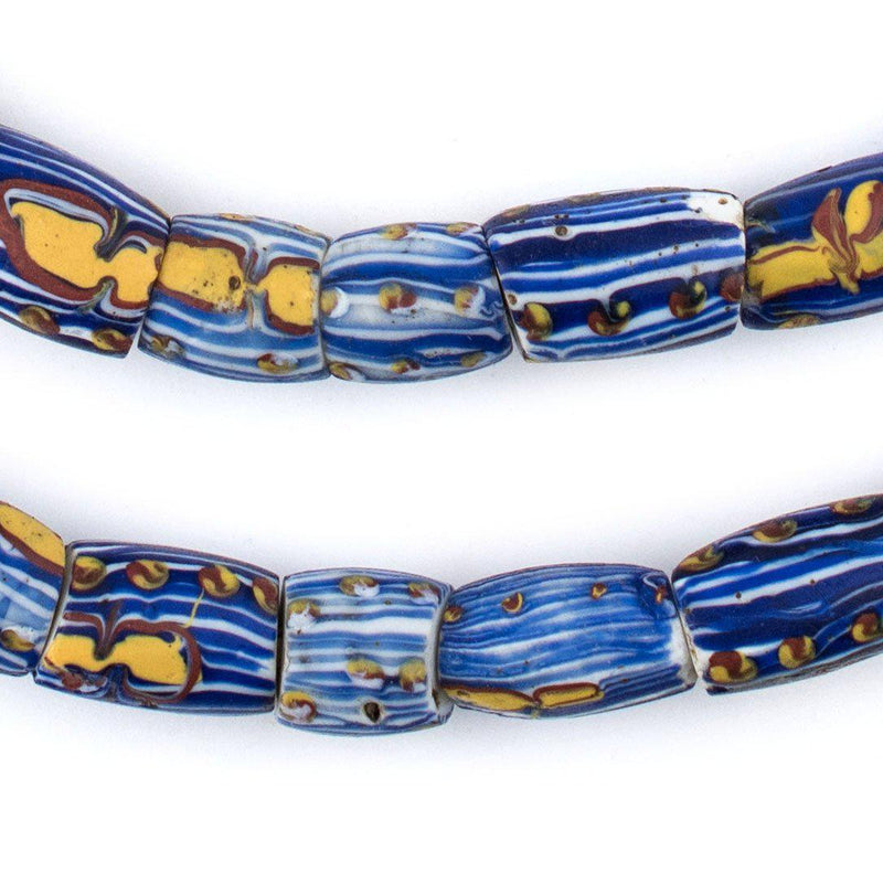 Antique Matching Blue Striped Oval Venetian Trade Beads - The Bead Chest