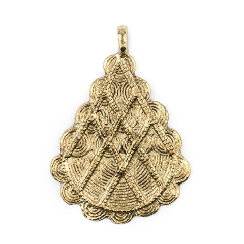 Brass Baule Pyramid Pendant (67x48mm) - The Bead Chest