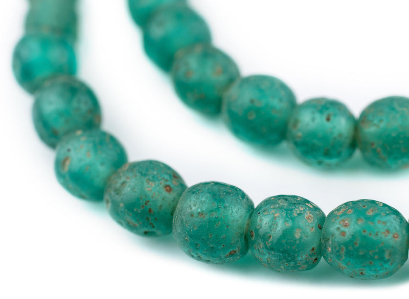 Green Aqua Ancient Style Java Glass Beads (9mm) - The Bead Chest