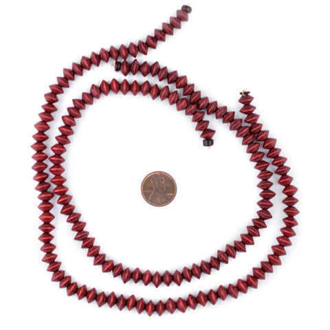 Cherry Red Bicone Natural Wood Beads (5x8mm) - The Bead Chest