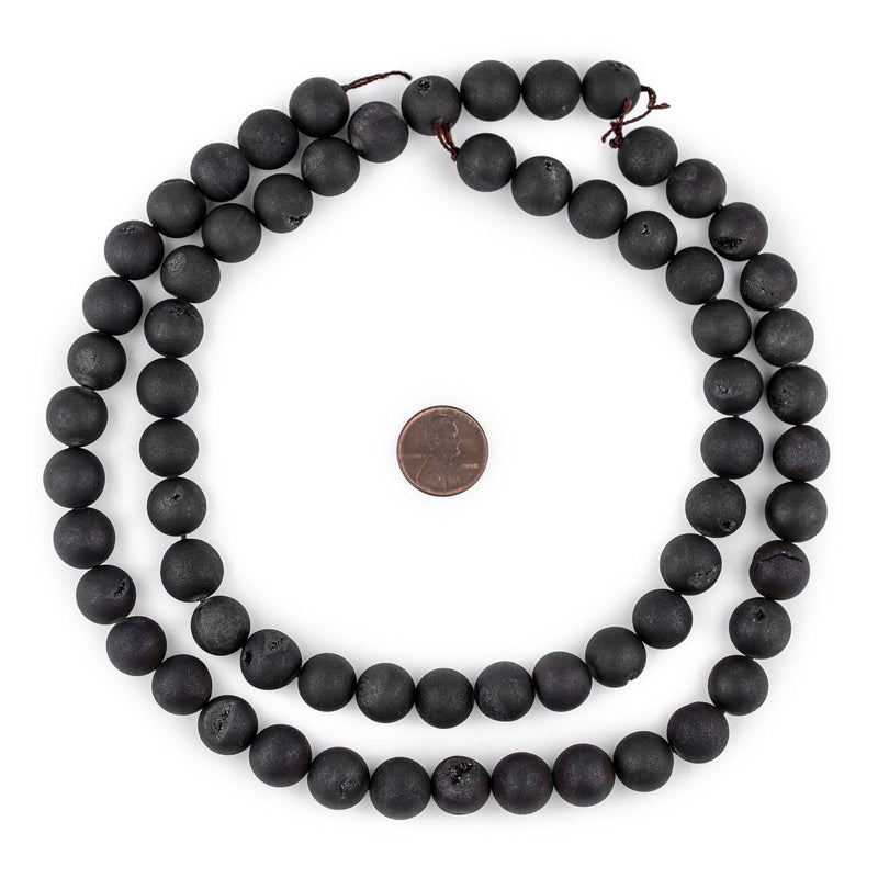 Black Round Druzy Agate Beads (12mm) - The Bead Chest