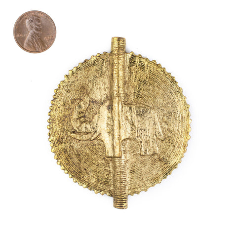 Image of Elephant Brass Sun Baule Bead Pendant (75x65mm) - The Bead Chest