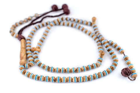 Blue Stripe Inlaid Olive Wood Arabian Prayer Beads (6mm) - The Bead Chest