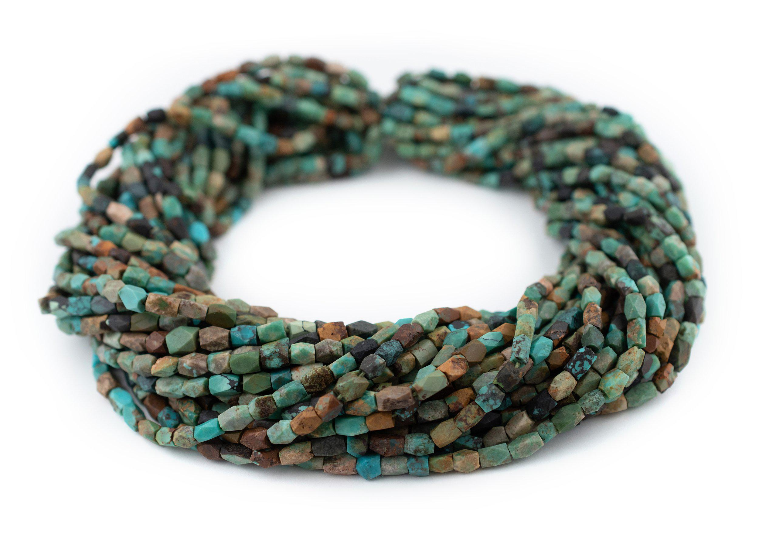 Tiny Turquoise Stone Saucer Beads 3mm Afghanistan Green Gemstone 15 Inch Strand