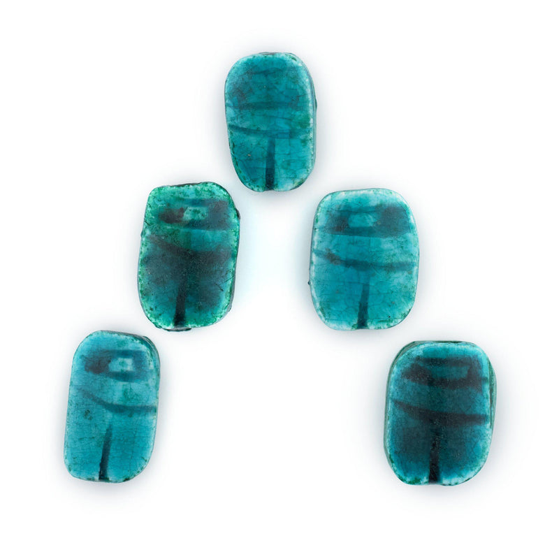 Turquoise Egyptian Soapstone Scarab Beads (Set of 5) - The Bead Chest