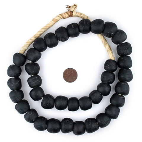 Charcoal Black Recycled Glass Beads (18mm)