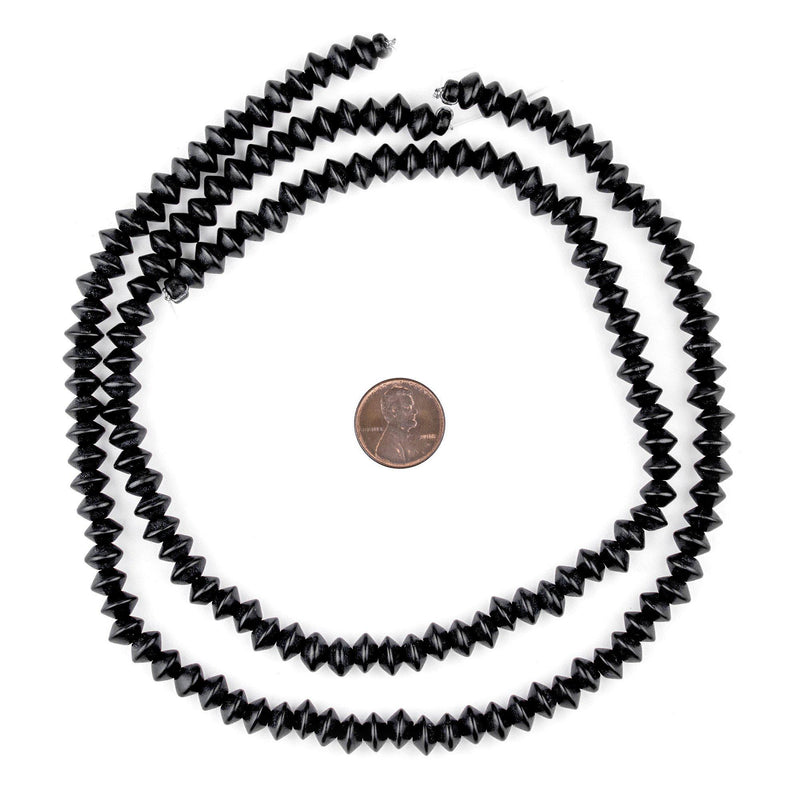 Black Bicone Natural Wood Beads (5x8mm) - The Bead Chest