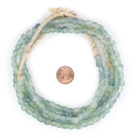 Image of Blue-Green Swirl Recycled Glass Beads (7mm) - The Bead Chest