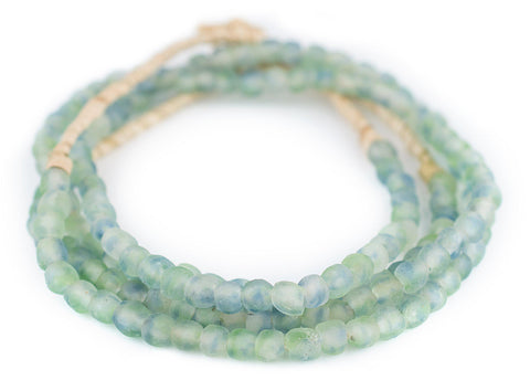 Blue-Green Swirl Recycled Glass Beads (7mm) - The Bead Chest