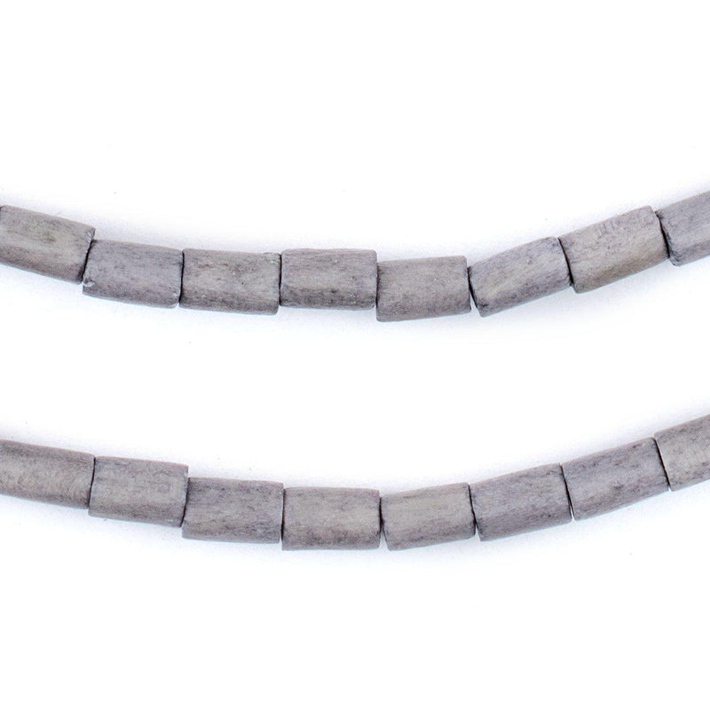 Grey Tube Natural Wood Beads (7x5mm) - The Bead Chest