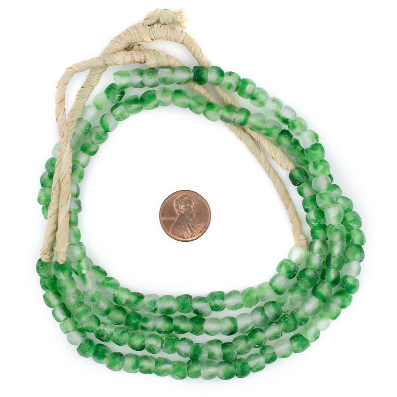 Green Swirl Recycled Glass Beads (7mm) - The Bead Chest