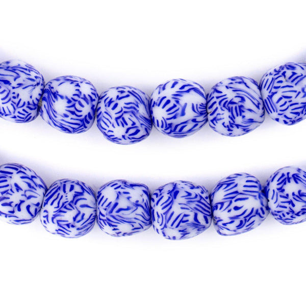 Blue & White Fused Recycled Glass Beads (11mm)