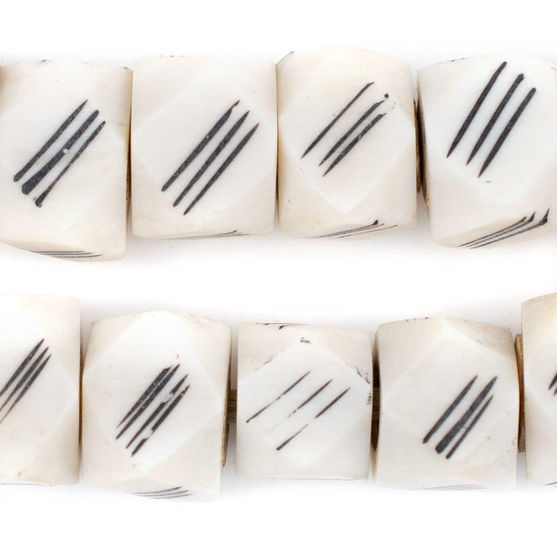 Scratch Carved Kenya Bone Beads (Faceted)