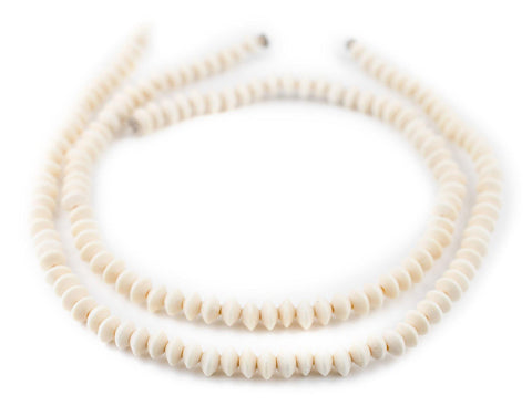 White Bicone Natural Wood Beads (5x8mm) - The Bead Chest