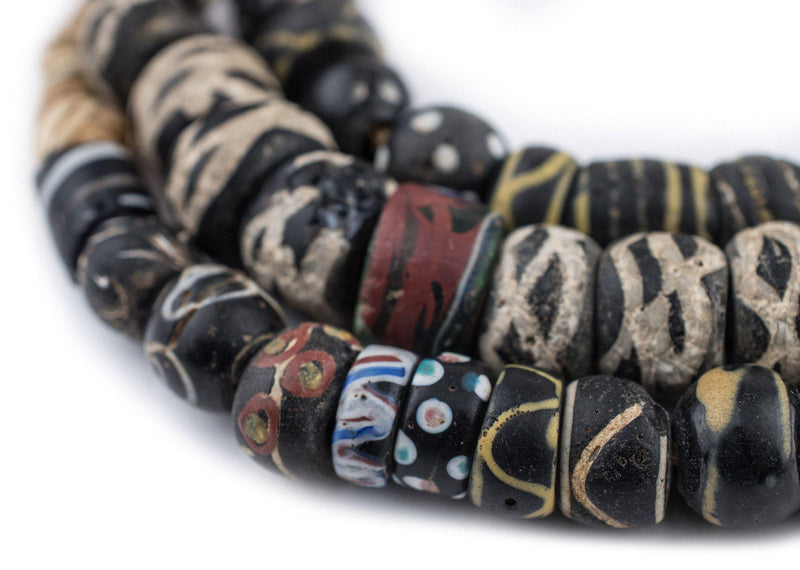 Assorted Antique Black Venetian Trade Beads - The Bead Chest