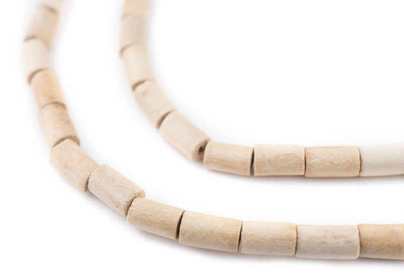 Cream Tube Natural Wood Beads (7x5mm) - The Bead Chest
