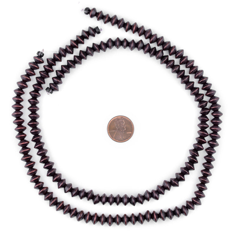 Dark Brown Bicone Natural Wood Beads (5x8mm) - The Bead Chest