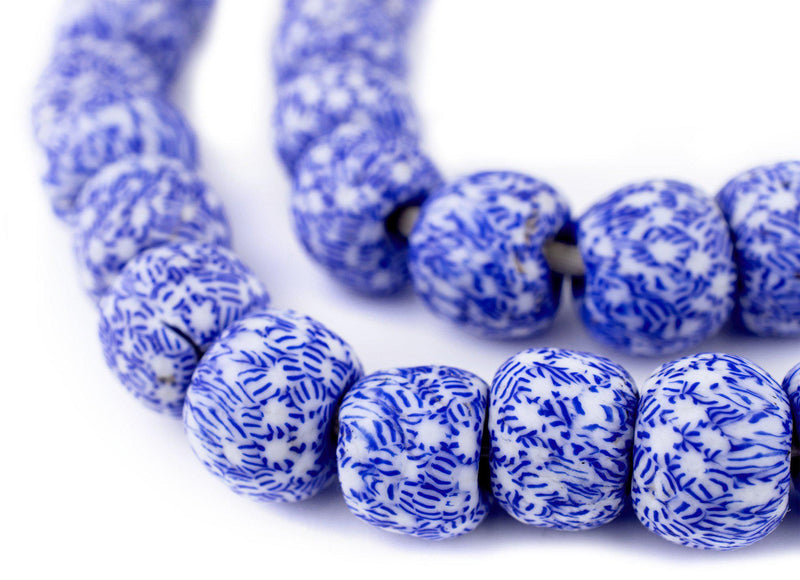 Blue & White Fused Recycled Glass Beads (18mm)