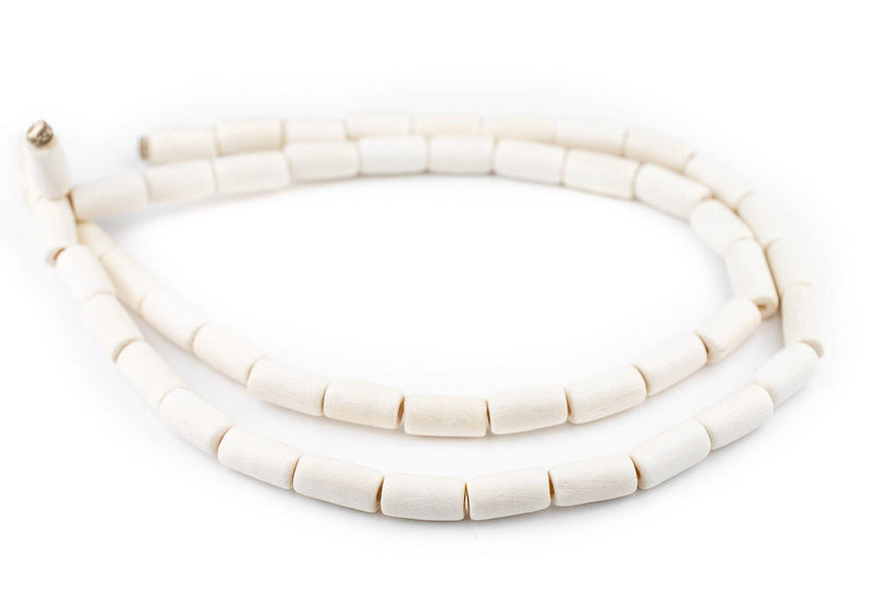 White Tube Natural Wood Beads (15x8mm) - The Bead Chest