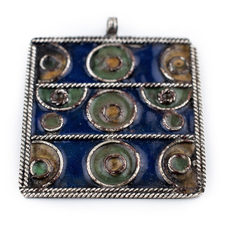 Rectangular Enameled Berber Pendant (Large) - The Bead Chest