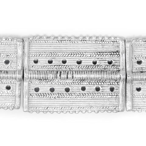 Aluminum Rectangular Dotted Baule Beads (54x41mm) - The Bead Chest