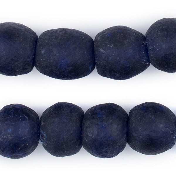 Indigo Blue Recycled Glass Beads (18mm) - The Bead Chest