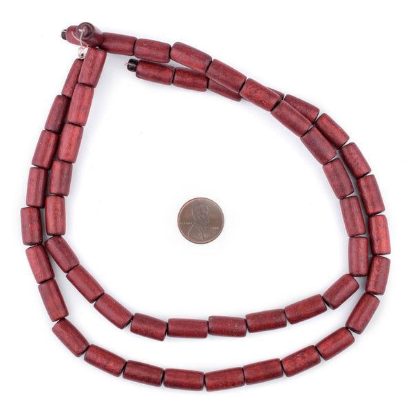 Cherry Red Tube Natural Wood Beads (15x8mm)