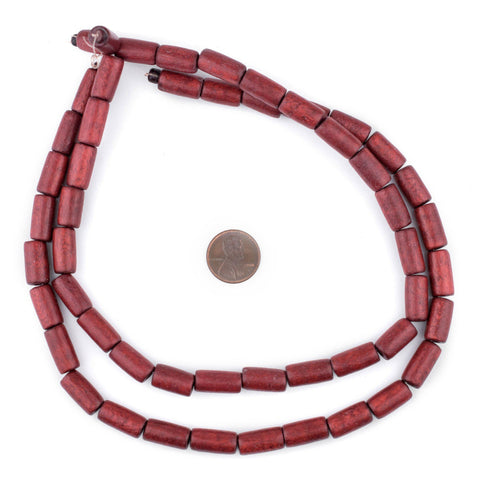 Cherry Red Tube Natural Wood Beads (15x8mm) - The Bead Chest